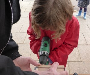 Child -Power tool??? but it worked.  And there is a bird box or two to prove it.
