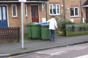 Judy on a green bin hunt in the local neighbourhood